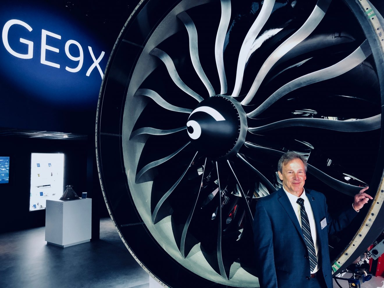 Image credit: Alex Schroff for GE Reports. Ted Ingling, the general manager for the GE9X engine program, unveiled the GE9X jet engine at the Paris Air Show on Monday. Image credit: Tomas Kellner for GE Reports.