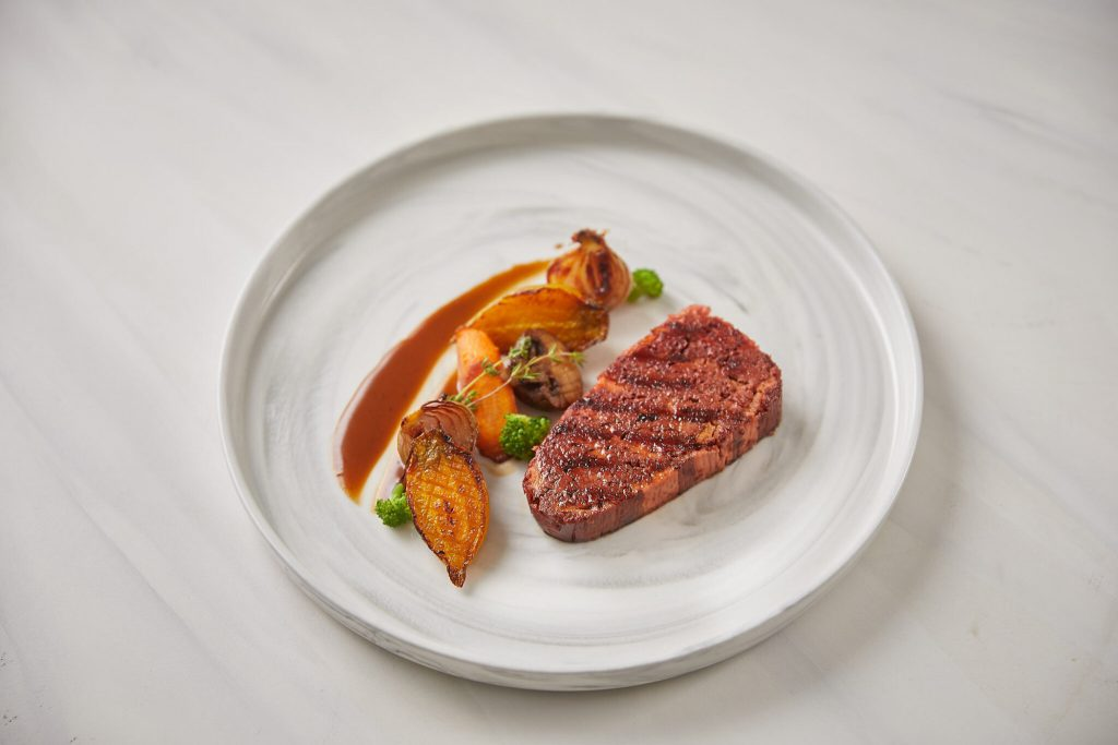 Redefine Meat's 3D printed Alt-SteakTM comprises the flavor, texture and appearance of beef steak