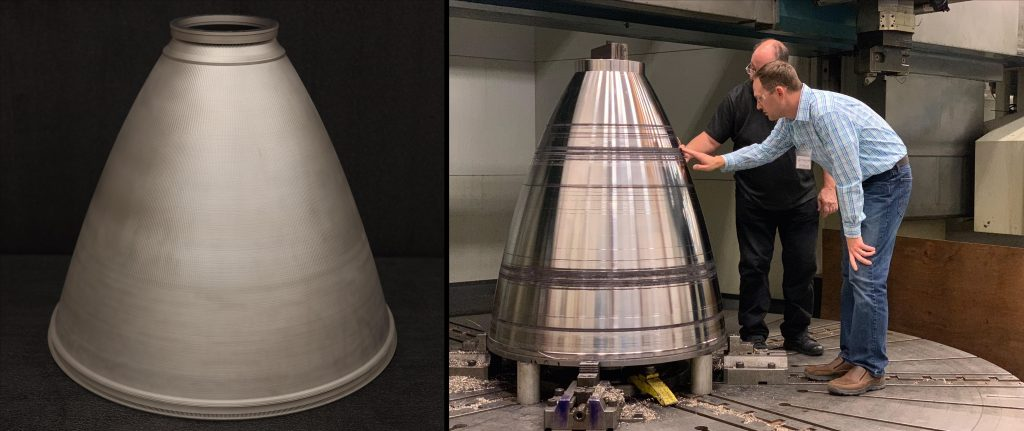 Blown powder directed energy deposition can produce large structures – such as these engine nozzles – cheaper and quicker than traditional fabrication techniques. Credits: NASA