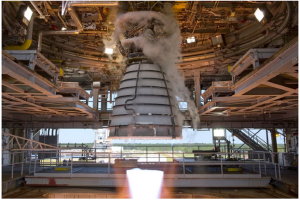 An RS-25 engine hot fire test