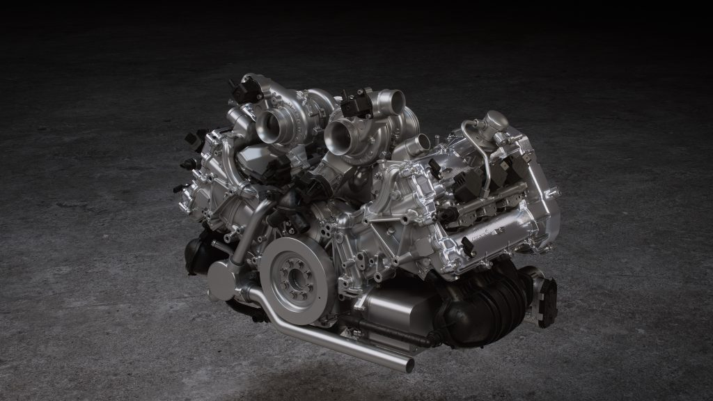2,993cc twin-turbocharged V6; 120° v-angle with turbos in 'hot vee'. Develops 585PS – a specific output approaching 200PS per litre – and torque of 585Nm Light and compact: 50kg lighter and 190mm shorter than McLaren V8 engine